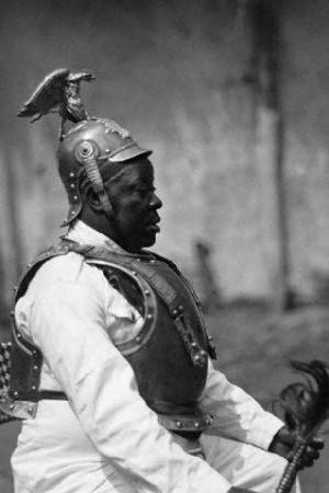 King Njoya of the Bamum s with German Prussian colonial cuirassier uniform 1919 ca