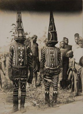 Igbo Masquerades, Nri Awka Region, Nigeria, Photograph by Northcote Thomas, early 20th Cen