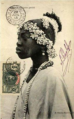 Young Fulani Girl, Sudan. Vintage Postcard Photographer M. Simon. Djenne, Mali, Date Unknown, possibly 1920's.