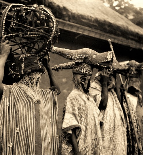 Bamum dancers of the royal court. Foumban, Cameroon Circa 1930.