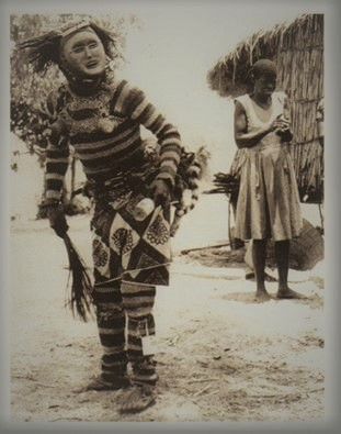 Lwena performer, first half of 20th Cen, Zambia, photographer unknown