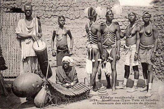 Djenne, Mali, musiciens et danseurs, early 20th Cen, Photographer Unknown.