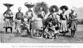 Chiefs from the Dschang district with feathered hat-like head finery , 1905 ca.