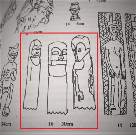 dal libro di m. felix. elementi cerimoniali poggiati a terra e legati a dei pali