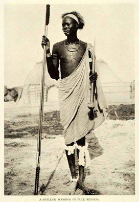 Shilluk Warrior of Sudan in full regalia, early 20th Cen, Photographer Unknown.