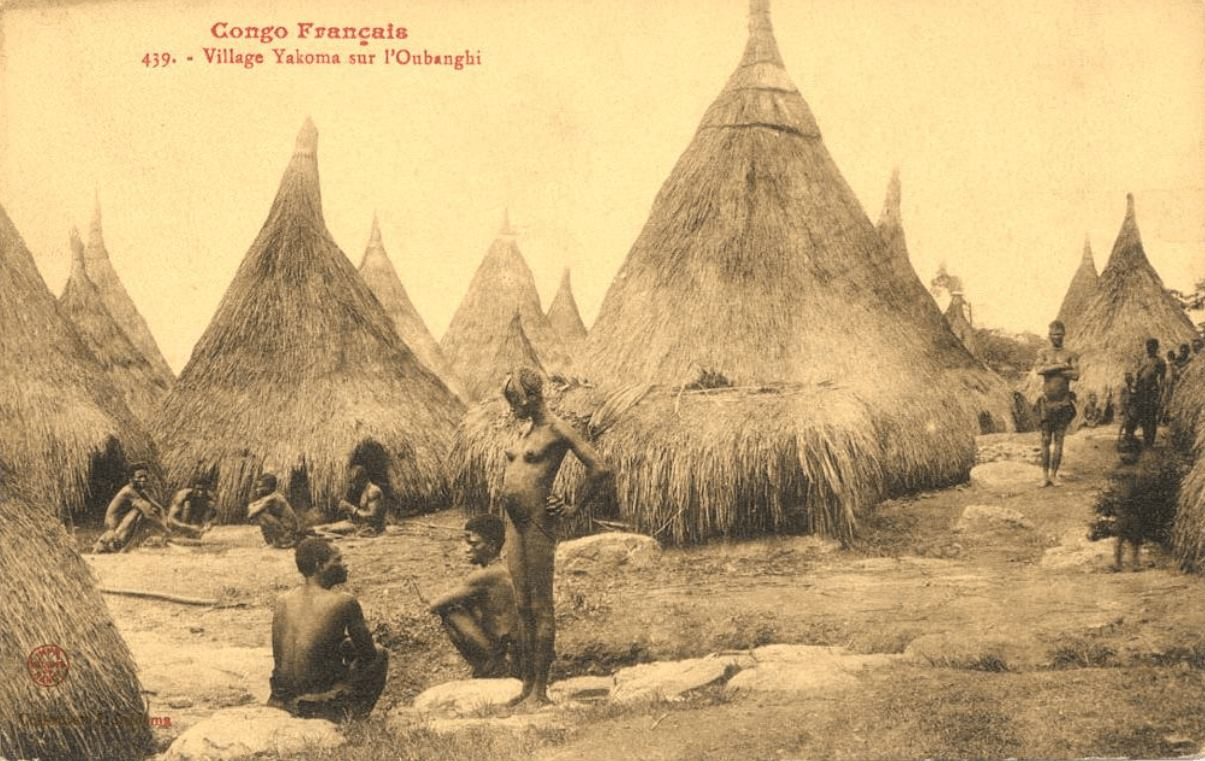 Yakoma Village, Congo at the turn of the 20th Cen. Photograph by Jean Audema.